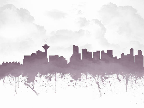 Vancouver Digital Art - Vancouver British Columbia Skyline - Purple 03 by Aged Pixel