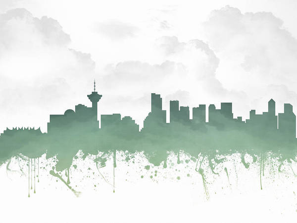 Vancouver British Columbia Skyline - Teal 03 Art Print