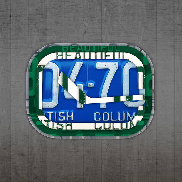 Wall Art - Mixed Media - Vancouver Canucks Hockey Team Retro Logo Vintage Recycled British Columbia Canada License Plate Art by Design Turnpike