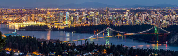 Metro Vancouver Wall Art - Photograph - Vancouver City With Lions Gate Bridge At Twilight by Pierre Leclerc Photography