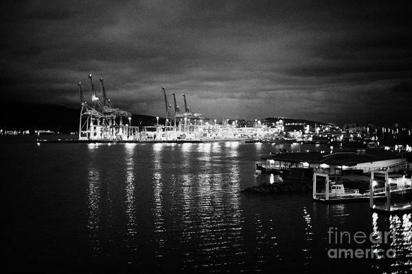 Metro Vancouver Wall Art - Photograph - Vancouver Metro Port Container Terminal At Night Bc Canada by Joe Fox