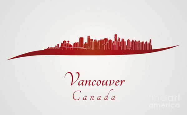 Vancouver Digital Art - Vancouver Skyline In Red by Pablo Romero