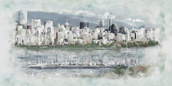 Wall Art - Painting - Vancouver Skyline by Maryam Mughal