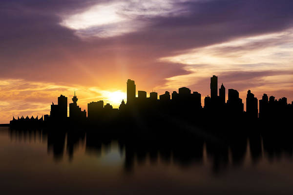 False Creek Wall Art - Photograph - Vancouver Sunset Skyline  by Aged Pixel