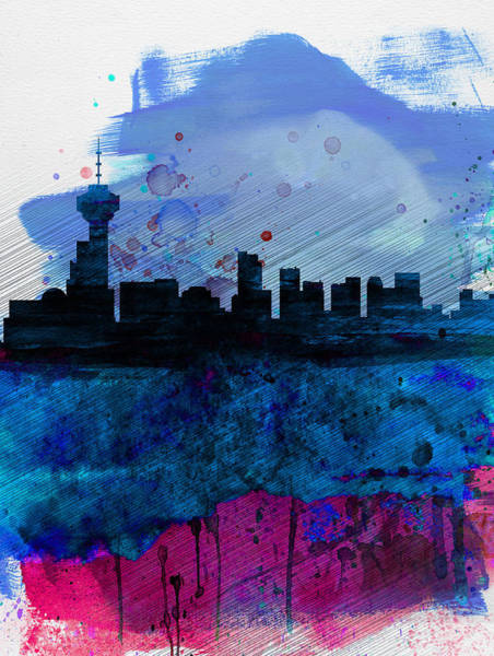 Wall Art - Painting - Vancouver Watercolor Skyline by Naxart Studio