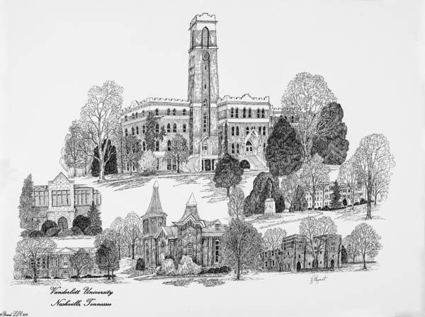 Liz Digital Art - Vanderbilt University by Jessica Bryant