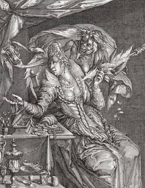 Wall Art - Photograph - Vanitas With Death And A Maiden, After Jacob De Gheyn.  From Illustrierte Sittengeschichte Vom by Bridgeman Images