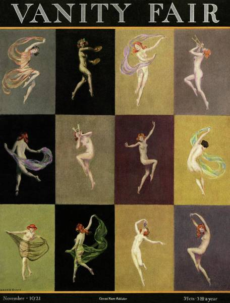 1921 Photograph - Vanity Fair Cover Featuring A Grid With Nymphs by Warren Davis