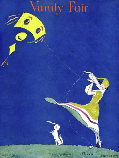 Blue Photograph - Vanity Fair Cover Featuring A Woman Flying A Kite by Ethel Plummer