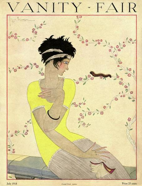 Yellow Flower Photograph - Vanity Fair Cover Featuring A Woman Watching by Georges Lepape