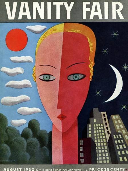 Moon Photograph - Vanity Fair Cover Featuring A Woman's Face Split by Miguel Covarrubias