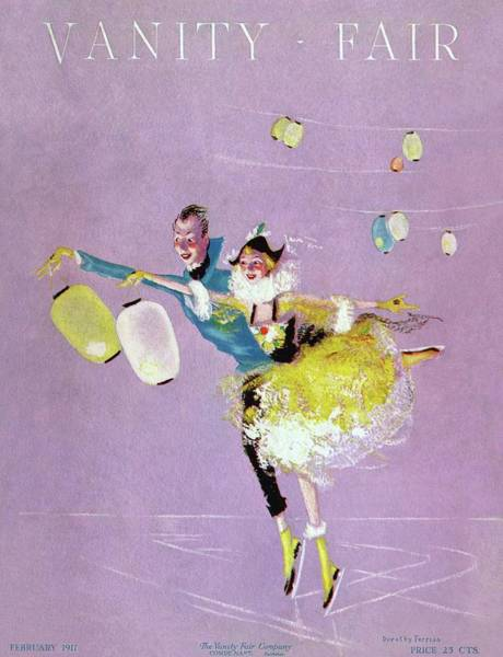 Blue Photograph - Vanity Fair Cover Featuring Two Ice Skaters by Dorothy Ferriss