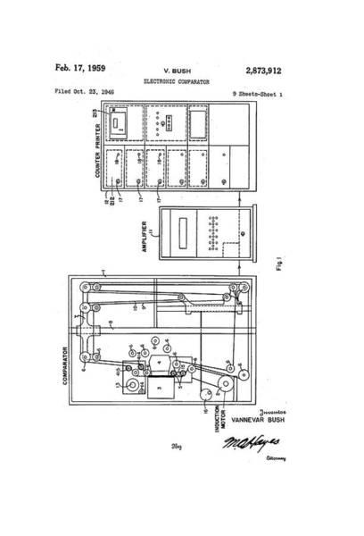 Vannevar Bush Comparator Patent Art Print