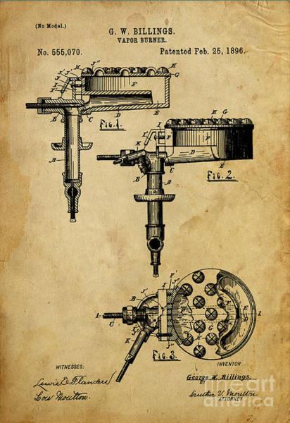 Vintage Patent Drawing - Vapor Burner - Patented On 1896 by Drawspots Illustrations