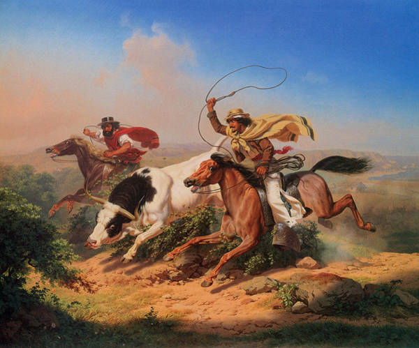 Roping Painting - Vaqueros Roping A Steer by Charles Christian Nahl