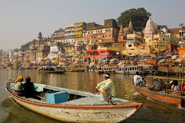 Ganges River Photograph - Varanasi Skyline From Ganges River by Peter Stuckings