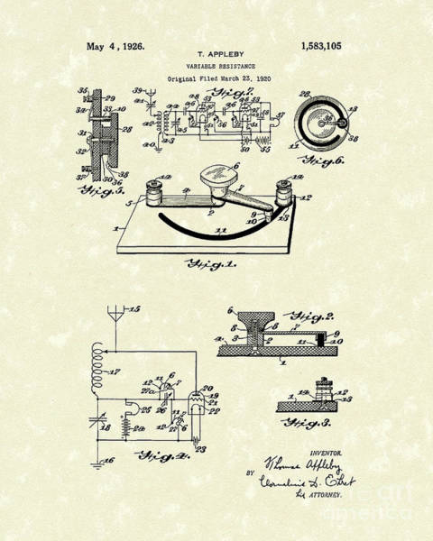 Drawing - Variable Resistance 1926 Patent Art by Prior Art Design