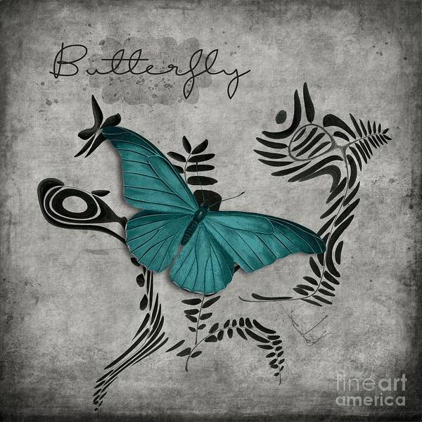 Wall Art - Digital Art - Variation Sur Un Meme Theme - S05 Butterfly Turquoise by Variance Collections