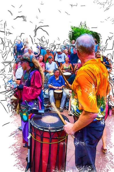 Drum Circle Wall Art - Drawing - Variety Of Drummers by John Haldane