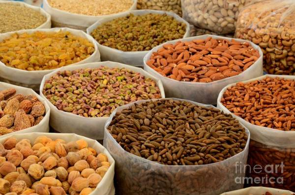 Variety Of Raw Nuts For Sale At Outdoor Street Market Karachi Pakistan Art Print