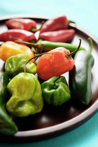 Vegies Photograph - Various Chili Peppers On Wooden Plate by Foodcollection