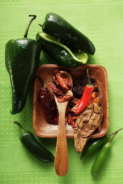 Vegies Photograph - Various Dried And Fresh Chili Peppers by Foodcollection