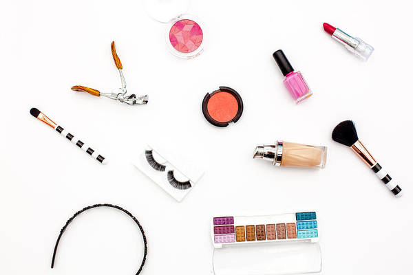 various makeup products and cosmetics in white background.Top view Art Print by Carol Yepes