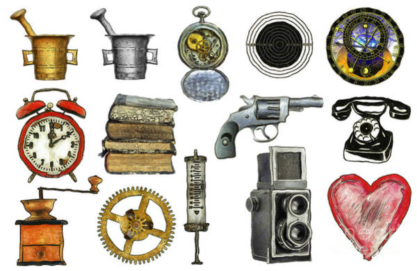 Wall Art - Drawing - Various Object - Signs - Icons by Michal Boubin
