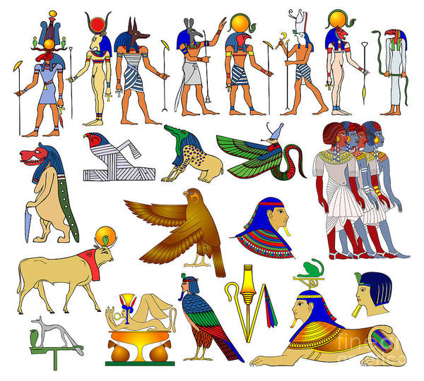 Wall Art - Digital Art - Various Themes Of Ancient Egypt by Michal Boubin