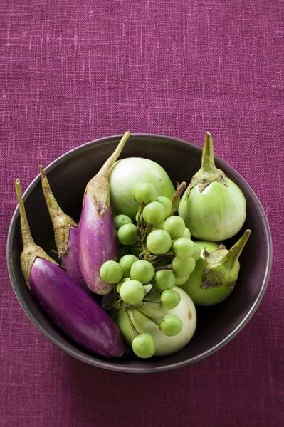 Vegies Photograph - Various Types Of Aubergines In Bowl by Foodcollection