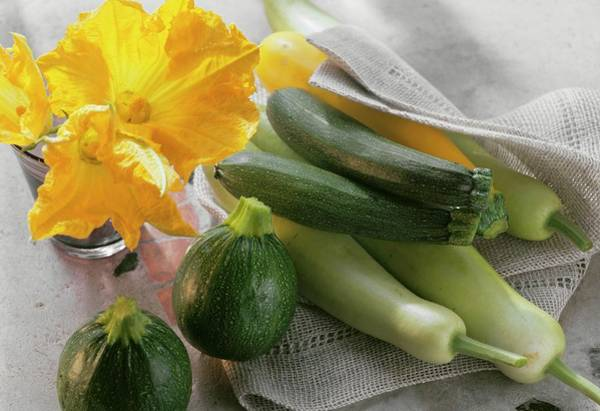 Cucurbits Photograph - Various Types Of Courgettes And Courgette Flowers by Eising Studio - Food Photo and Video