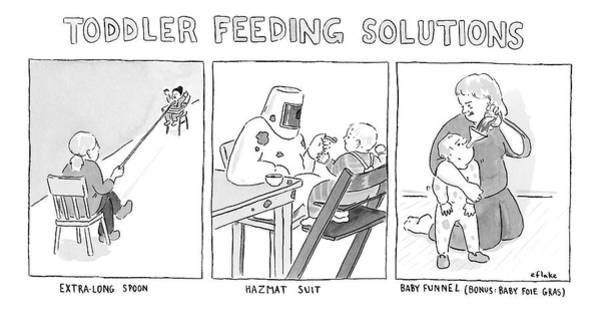 Messy Drawing - Various Ways To Feed A Toddler Without Getting by Emily Flake
