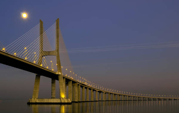 Vasco Da Gama Bridge Wall Art - Photograph - Vasco Da Gama Bridge In The Moonlight by Alexandre Martins