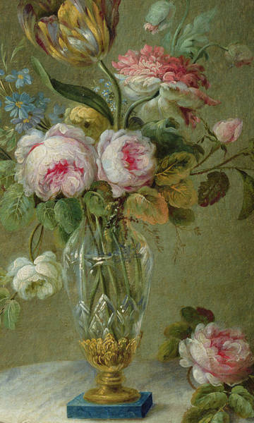 Marble Painting - Vase Of Flowers On A Table by Michel Bellange
