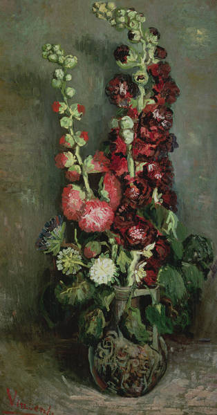 Wall Art - Painting - Vase Of Hollyhocks by Vincent van Gogh