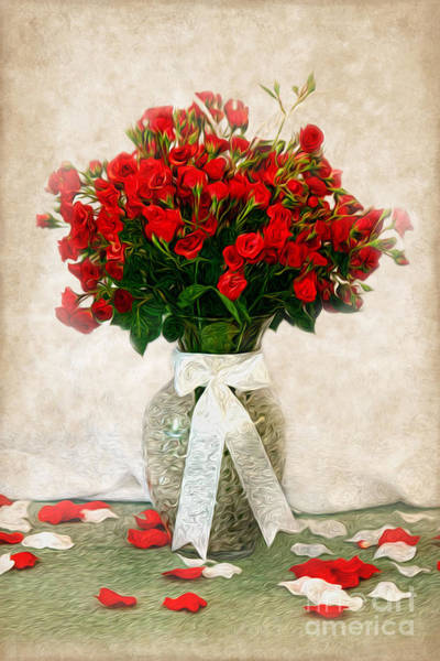 Wall Art - Photograph - Vase Of Red Roses by Lena Auxier