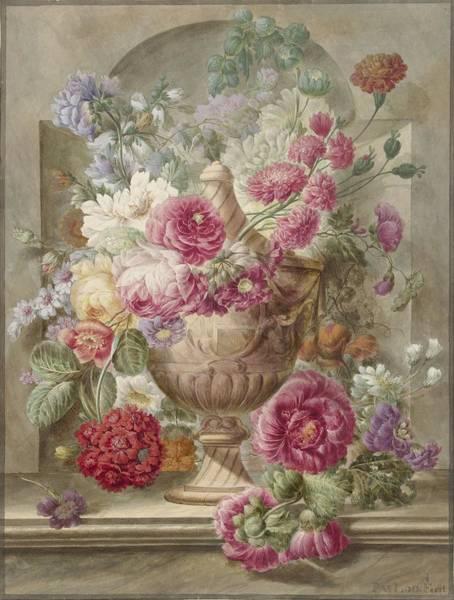 Drawing - Vase With Flowers by Pieter Van Loo