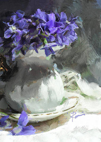 Painting - Vase With Violets by Charlie Roman