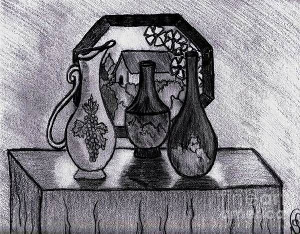 Drawing - Vases In Stained Glass Window by Neil Stuart Coffey