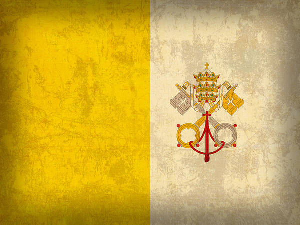 Finish Mixed Media - Vatican City Flag Vintage Distressed Finish by Design Turnpike