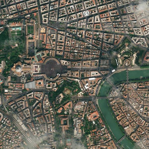 Saint Peters Square Photograph - Vatican City, Italy, Satellite Image by Science Photo Library