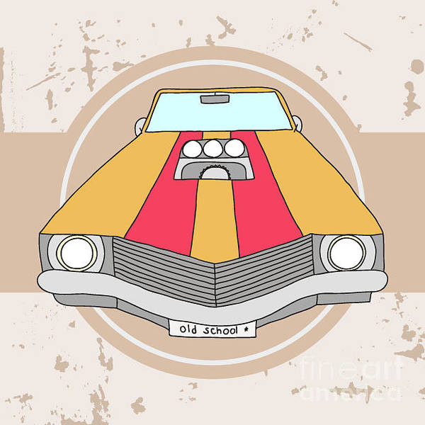 Oldtimer Wall Art - Digital Art - Vector American Muscle Car. Retro Car by Ronaleksandra