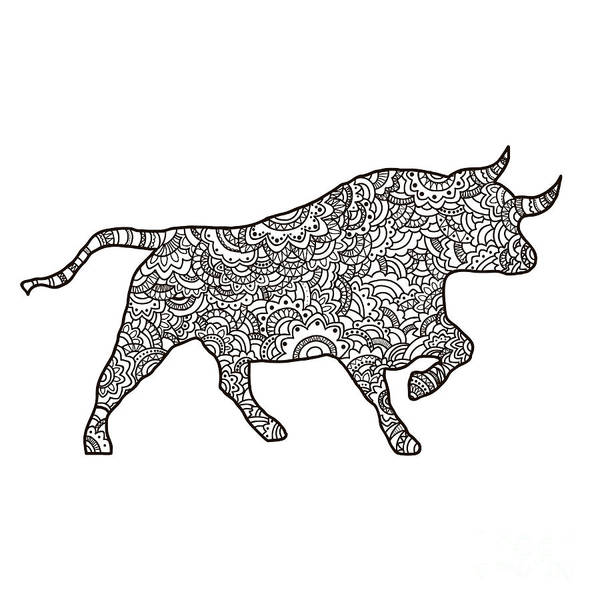 Monochrome Digital Art - Vector Boho Bull For  Coloring Book For by Shelest Yuliia