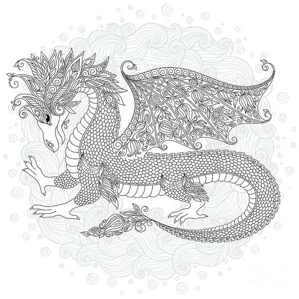 Monochrome Digital Art - Vector Cartoon Dragon. Hand Drawn by Photo-nuke