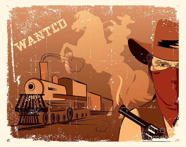 Vector Cowboy And Train. Western Grunge Art Print