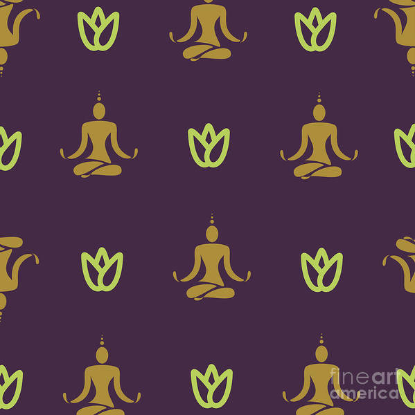 Health Wall Art - Digital Art - Vector Design Yoga Pose Pattern by Mattponchik