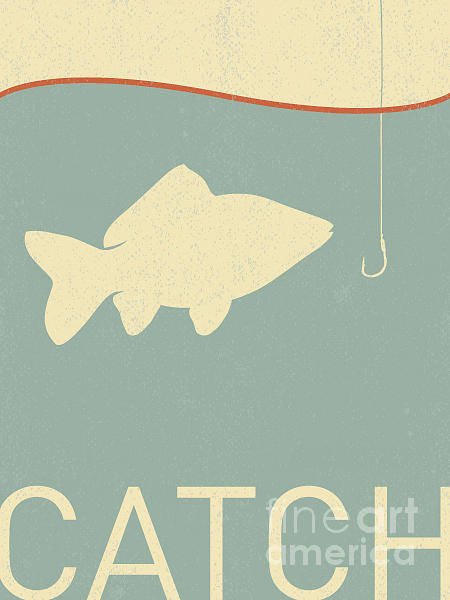 Wall Art - Digital Art - Vector Fish And Fish Hook - Retro by Norph
