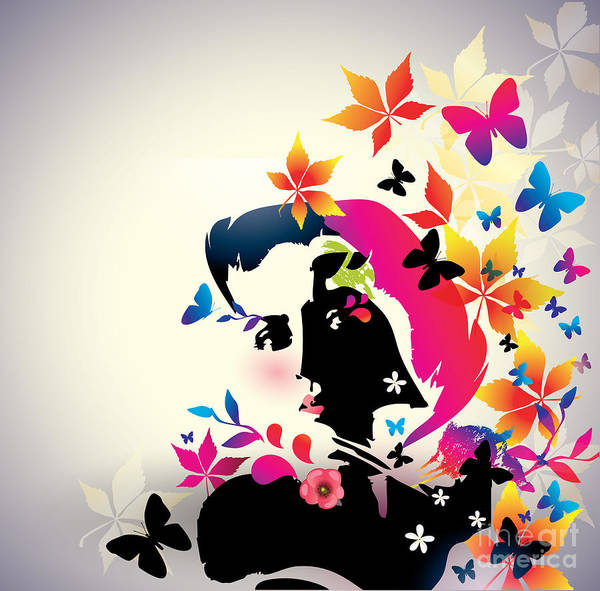 Wall Art - Digital Art - Vector Floral Girl by Alessandram