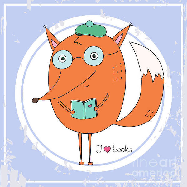 Simple Digital Art - Vector Hand Drawn Fox With Book by Ronaleksandra