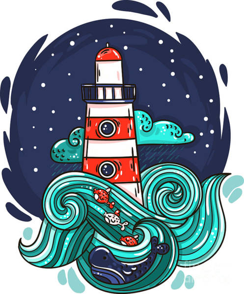 Vector Illustration Lighthouse In Storm Art Print